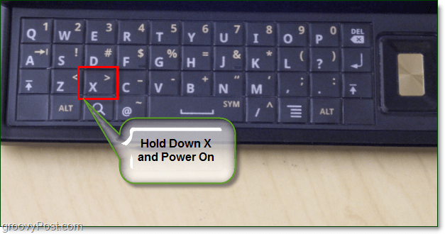 droid keyboard, hold x and power on