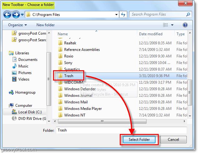 choose the recycle bin shortcut's folder