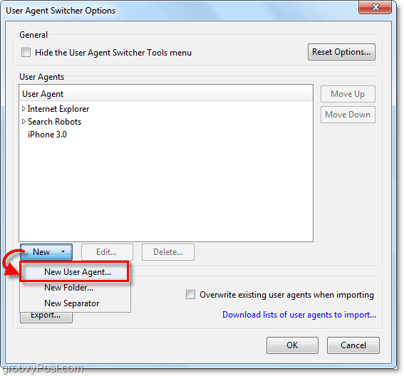add a new user agent to agent switcher
