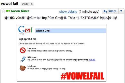 Gmail 2010 April Fools Vowel Failure
