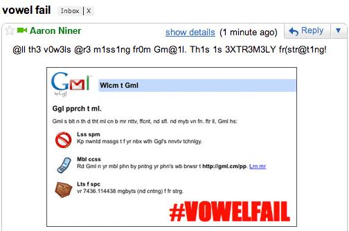 Gmail 2010 April Fools Vowel Failure