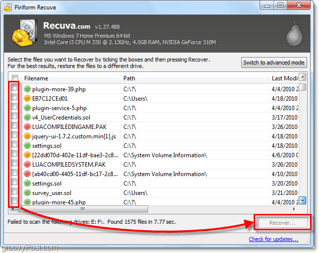 recover files from deletion using recuva, select asmay files as you want
