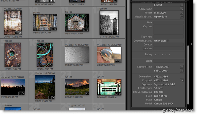 Adobe Lightroom 2 Metadata Screenshot