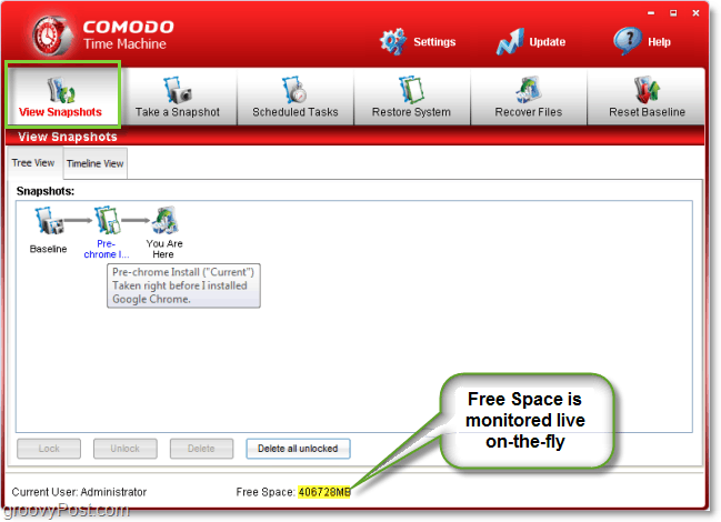 monitor your free HDD space on the fly with comodo time machine