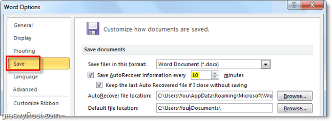 adjust autorecover settinsg in office 2010