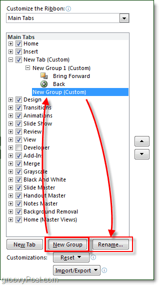 rename tabs and groups in ribbon in office 2010