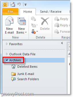 how to access archived emails from Outlook 2010