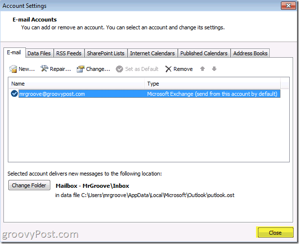 Outlook 2010 Screenshot close button to save account savings