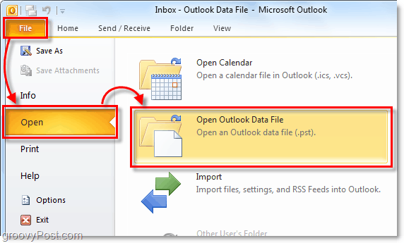 open your folder that contains your archive pst file from Outlook 2010