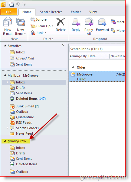 Outlook 2010 Screenshot how to add additional mailbox