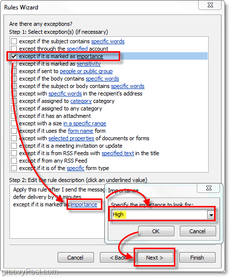 add Outlook 2010 high priority messages as an exception