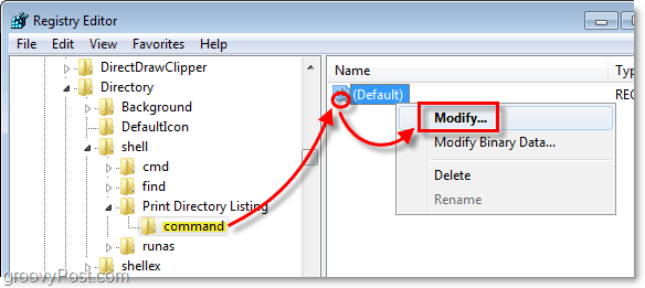 under command, modify the default file