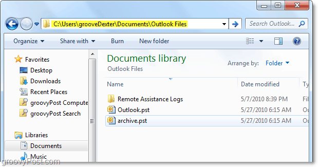 default Outlook 2010 pst file folder