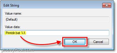 assign the value as Printdir.bat %1