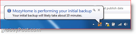 Mozy backup in progress taskbar