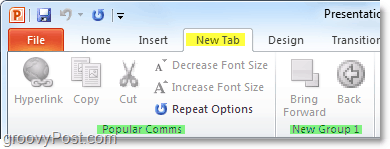 a new custom tab ribbon in office 2010