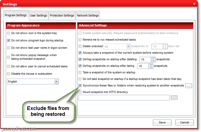 exclude files from being backed up by a system restore in comodo time machine