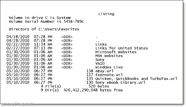 a printed directory listing of windows 7 folder contents