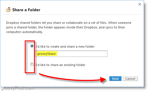 Dropbox screenshot - create a new dropbox share folder