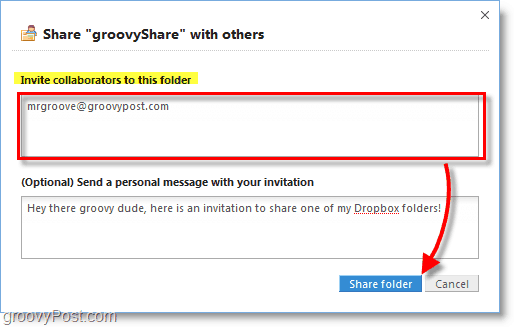 Dropbox screenshot - invite people to use your share folder
