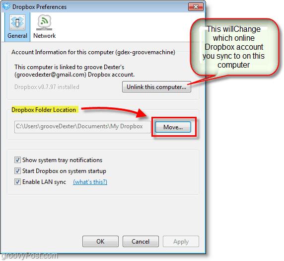 Dropbox screenshot - change dropbox default location or change / remove dropbox accounts