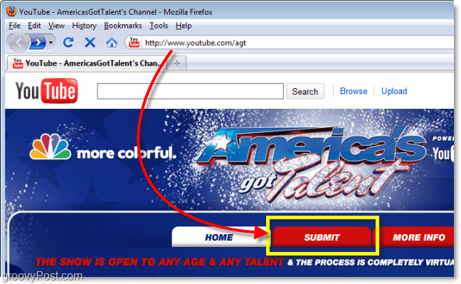 youtube americas got talent submit button