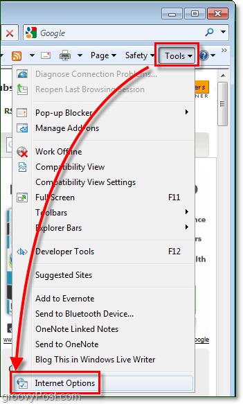 access the options menu in IE8