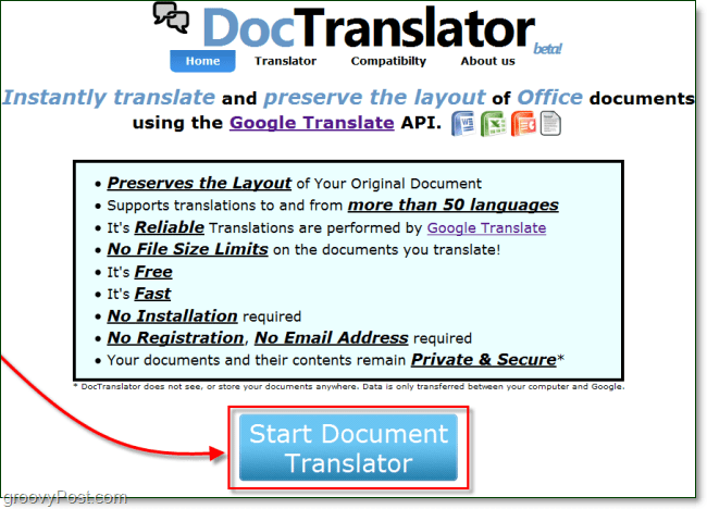 doc translator home page
