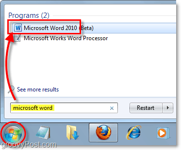launch microsoft word 2010 in windows 7