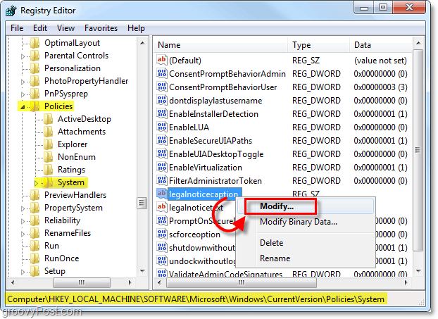 modify the legalnoticecaption to create a windows 7 startup message