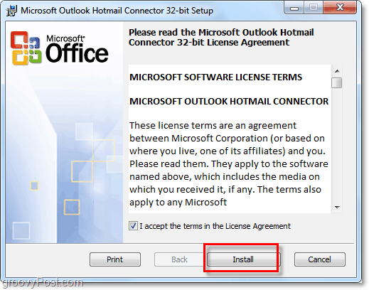 installation of outlook hotmail connector tool