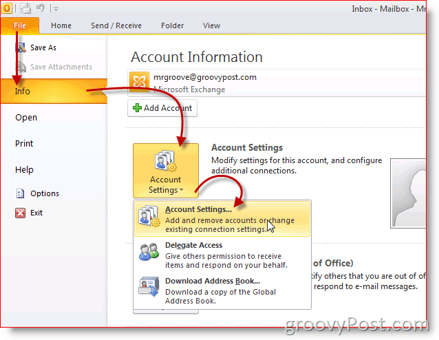 Outlook 2010 Screenshot Account Settings