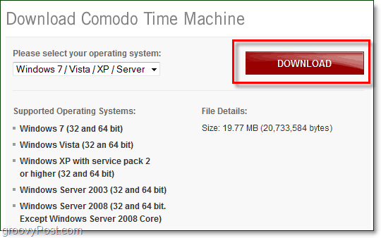 where to download comodo time machine and what systems its supported on
