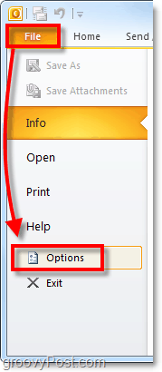 launch office 2010 preferences and options