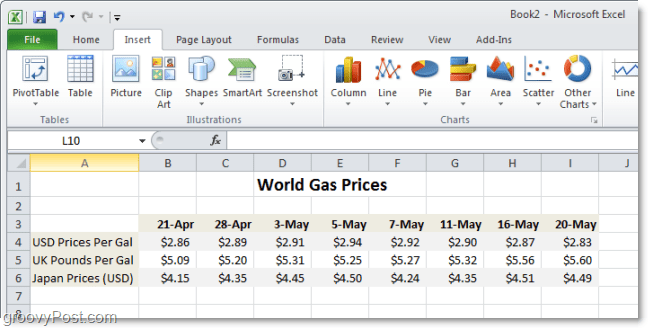 World Gas Price comparison chart in Excel 2010