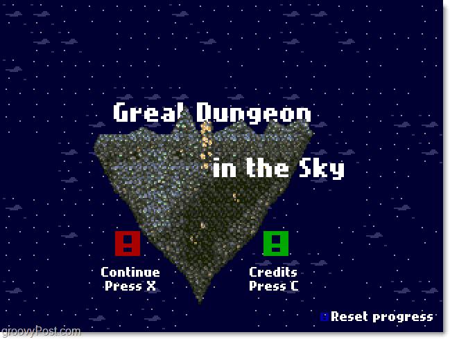 Great Dungeon In The Sky Main Menu