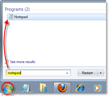 open the notepad in windows 7