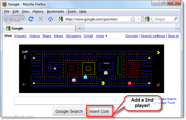 insert a coin to activate mrs. pacman in the google logo