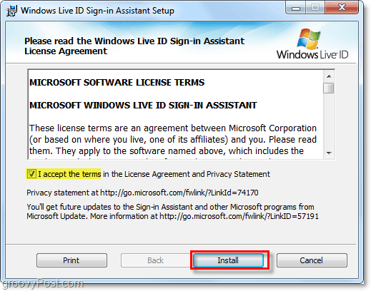 link your window 7 account by installing the live id sign in assistant