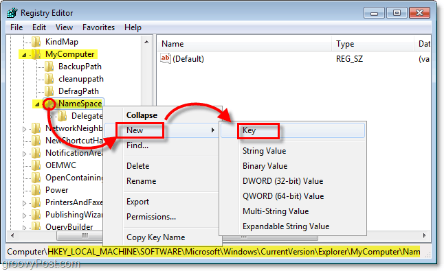 add a new subkey to the NameSpace key in windows 7