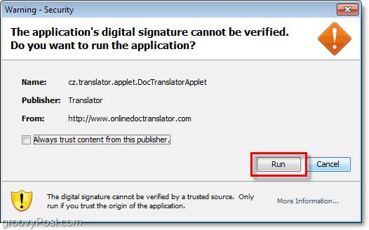 doc translator digital signature cannot be verified