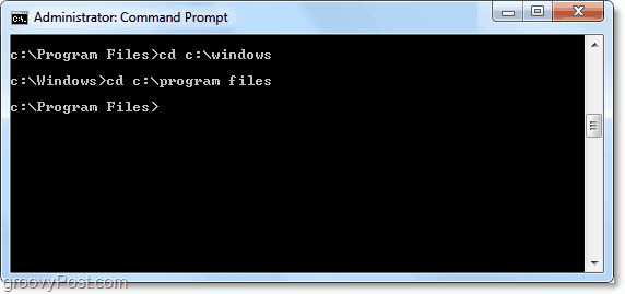 use cd in command prompt to change directory