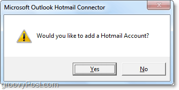 add a hotmail account to outlook usin the connector tool