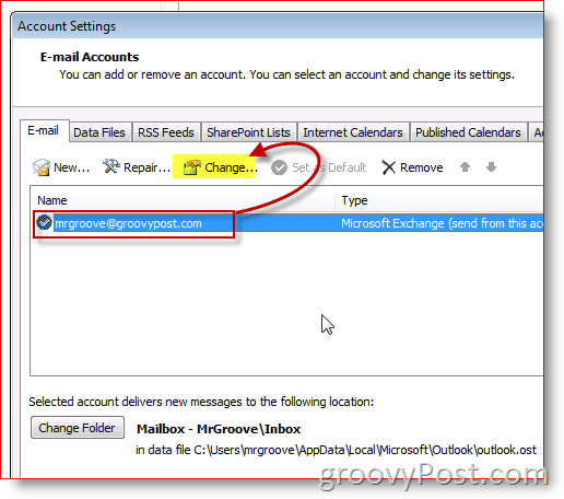 Outlook 2010 Screenshot change email settings