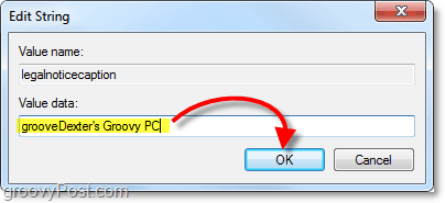 type in the windows 7 startup message title or leave it blank