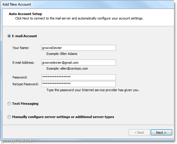 type in your gmail account credentials