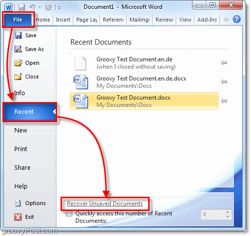 recover unsaved office 2010 documents