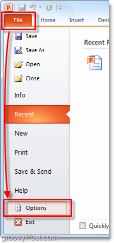 go to options menu in office 2010