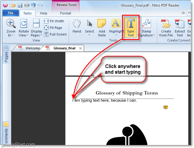 start typing anywhere in a pdf