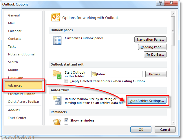 Advanced > Autoarchive settings in Outlook 2010